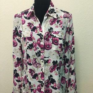 White house black market silk blouse Size 12
